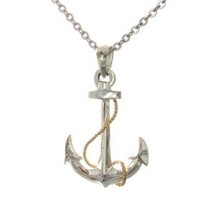 Silver Anchor with 14k Gold Rope Necklace Pendant